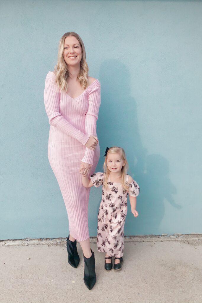 Pink Ribbed Knit Dress 1