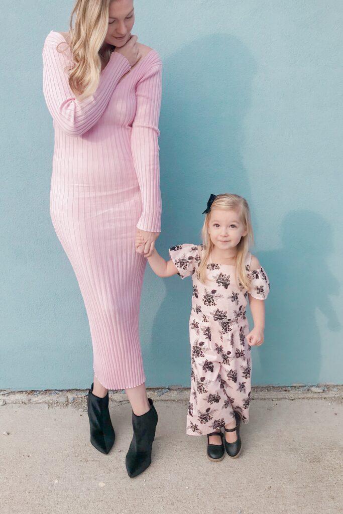 Pink Ribbed Knit Dress 5