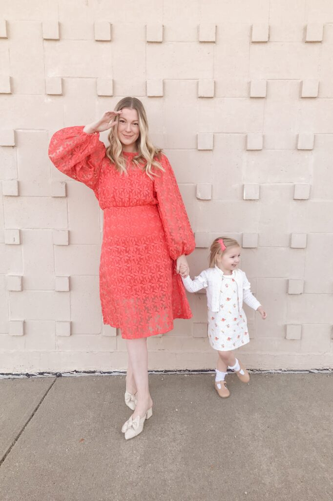 Coral Embroidered Dress 9