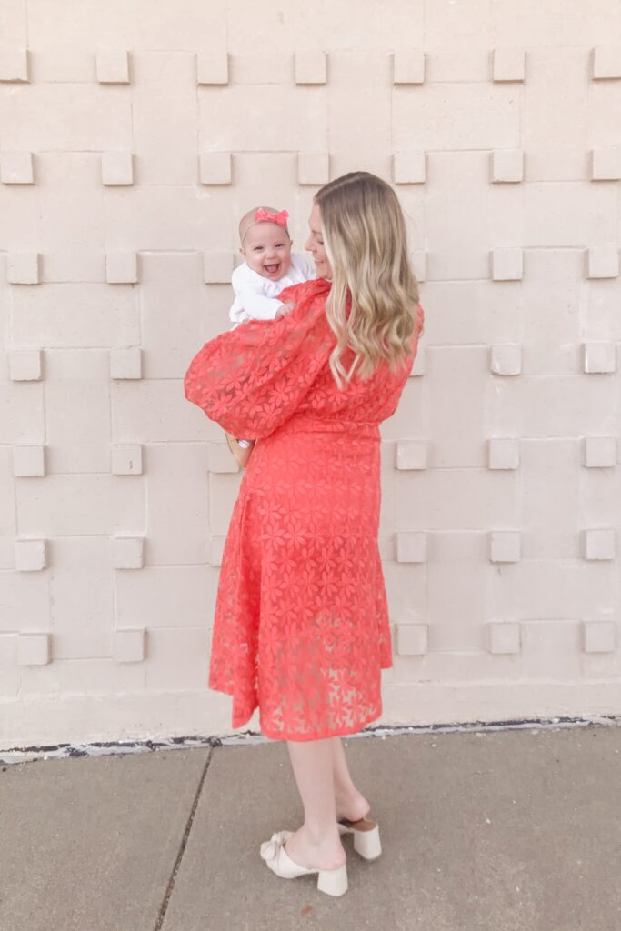 Coral Embroidered Dress 4