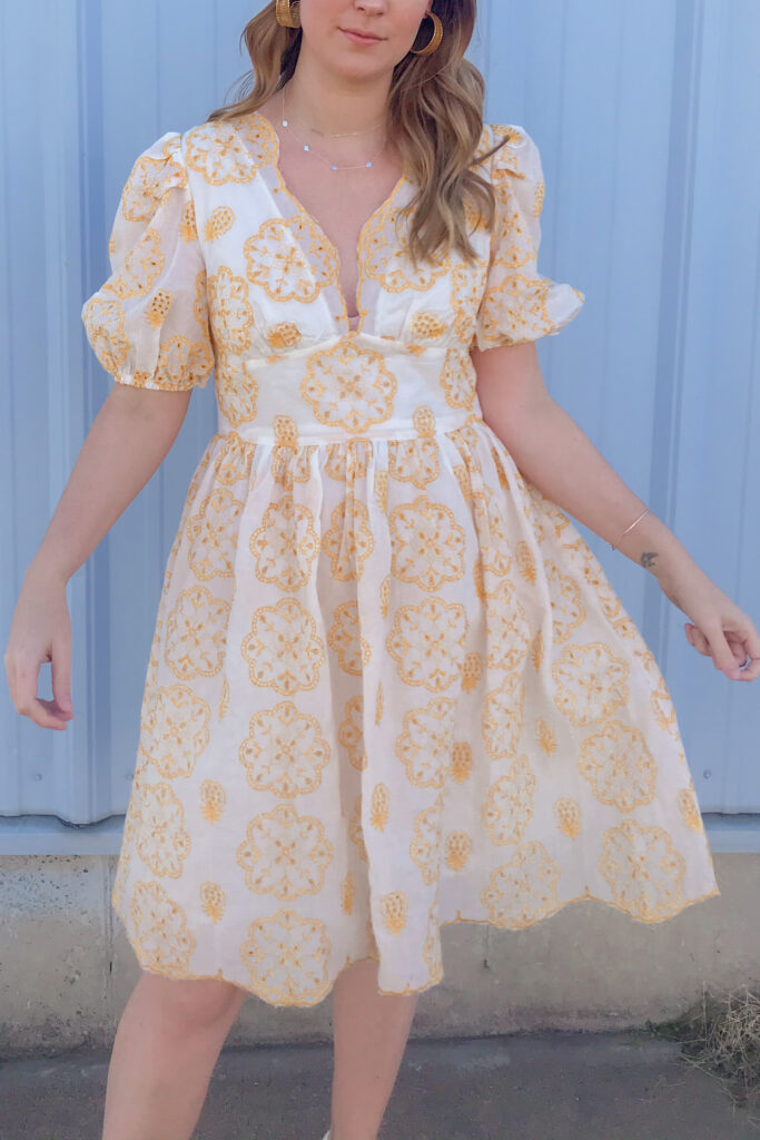 Yellow Broderie Dress 2
