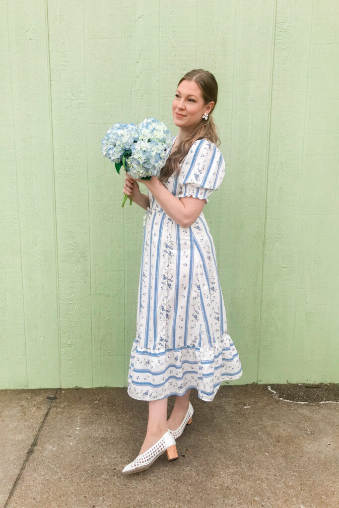 Blue & White Floral Dress3
