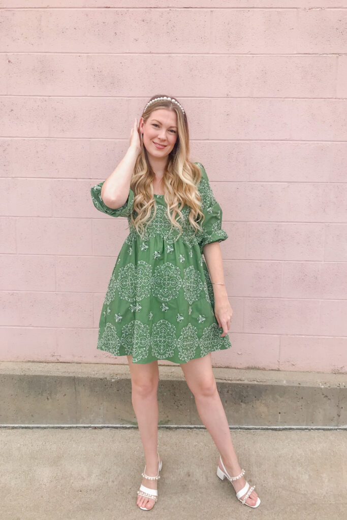 Green Embroidered Dress 1