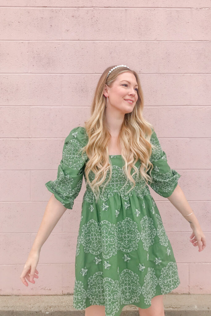 Green Embroidered Dress 3